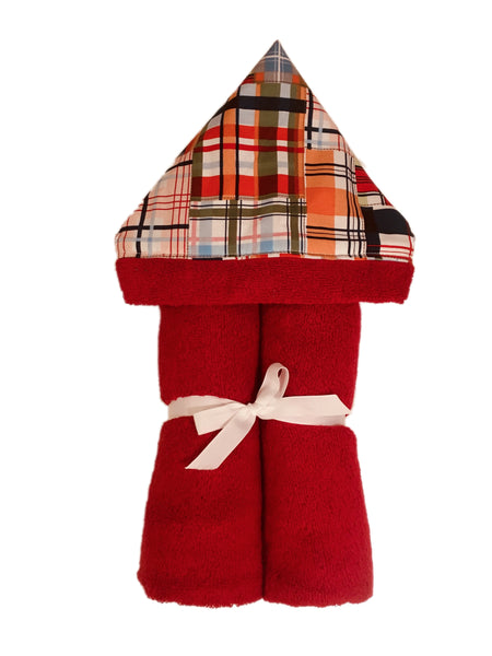 Madras Patchwork Plaid Red Hooded Towel
