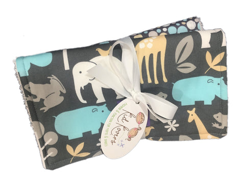 "Sea Zoology & Sea Zoo Dots. Set of 2 Burp Cloths, 10x20"" absorbent cotton Terry cloth."
