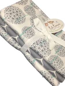 "Dandelion and Grey Quatrefoil, 3 Burp Cloths, 10x20"" absorbent cotton Terry cloth."