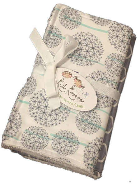 "Dandelions and Grey Quatrefoil, Set of 2 Burp Cloths, 10x20"" absorbent cotton Terry cloth."