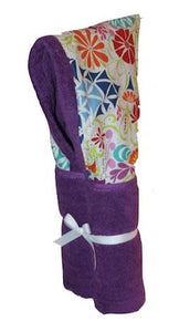 Splash Flowers Dark Purple Hooded Towel