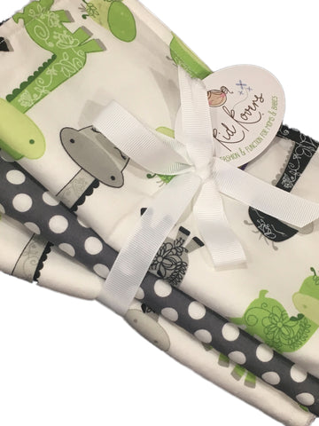 "Cute Lime Giraffes and Grey Dot Set of 3 Burp Cloths, 10x20"" absorbent cotton Terry cloth."