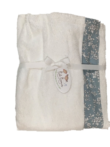 Wedgewood Light Blue Floral and White Towel Wrap, Personalization available