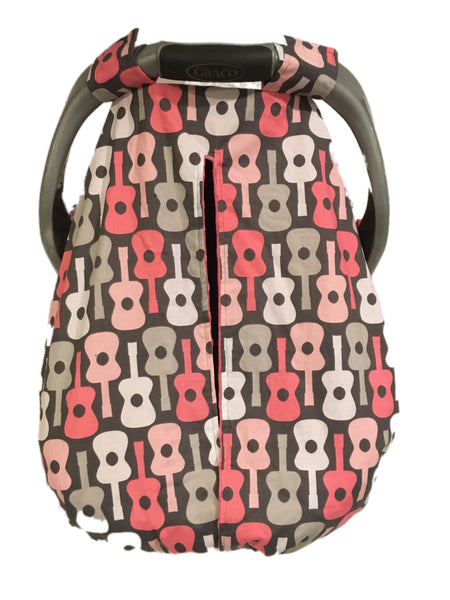 Pink and Grey Guitar Car Seat Kover with Pink Minky Interior