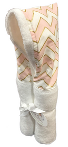 Coral and Gold Chevron White Hooded Towel