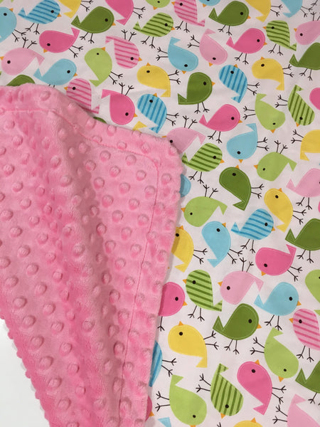 Cute Birds with Pink Minky Baby Blanket