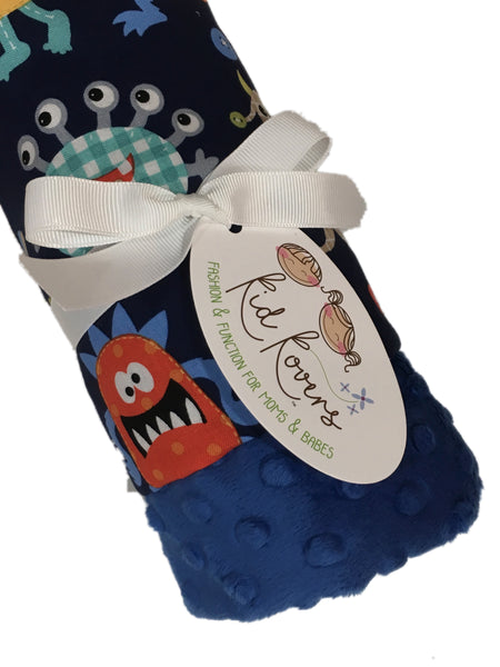 Cute Monsters Electric Blue Minky Baby Blanket