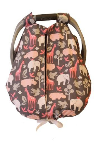 Pink Zoology Car Seat Kover with Paris Pink Minky Interior