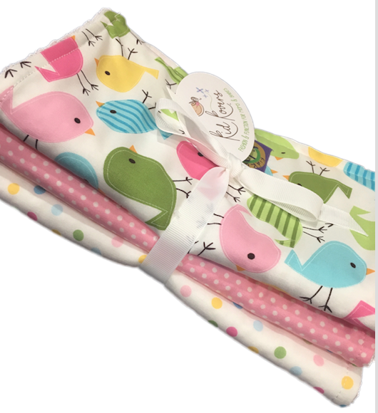 "Cute Birds, Pink Dot and Pastel Dot. Set of 3 Burp Cloths. 10x20"" absorbent cotton Terry cloth."