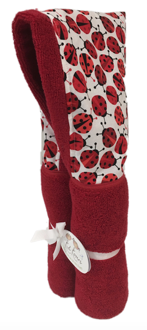 Red Ladybug Red Hooded Towel