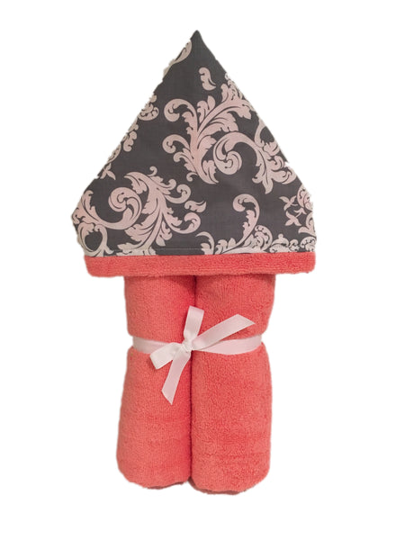 Soft Grey Swirl Coral Hooded Towel
