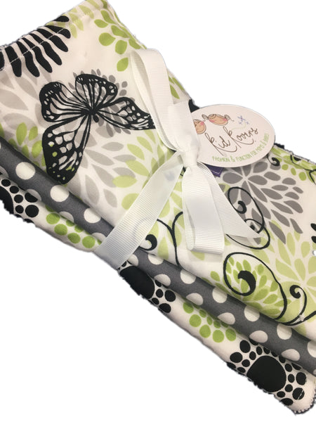 "Neutral Lime, Grey, Black and White Butterfly and dot, Set of 3 Burp Cloths, 10x20"" absorbent cotton Terry cloth."
