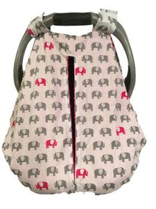 Fuchsia and Grey Elephant Car Seat Kover with Fuchsia Minky Interior