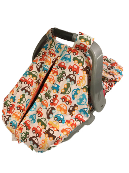 Beep Beep Cars Car Seat Kover with Sky Blue Minky Interior