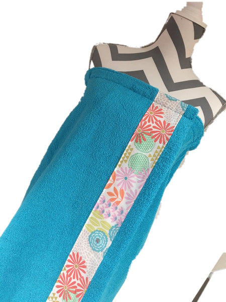 Julianne Aqua Towel Wrap, Personalization available