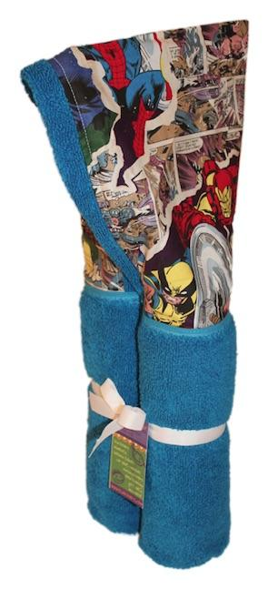 Avengers on a Blue Hooded Towel
