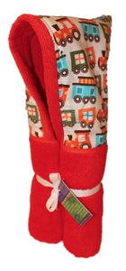 Choo Choo Train on Orange Hooded Towel