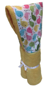 Cute Birds on a Yellow Hooded Towel