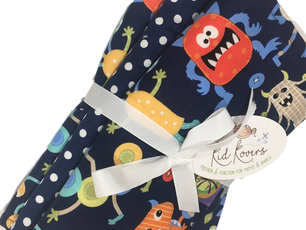 "Cute Monsters & Navy Dot, Set of 3 Burp Cloths, 10x20"" absorbent cotton Terry cloth."