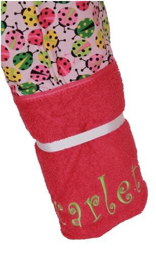 Pink Ladybugs Hot Pink Hooded Towel