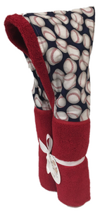 Baseballs Galore Red Hooded Towel