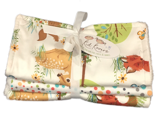"Woodland Wildlife and Nature Dots, Set of 3 Burp Cloths, 10x20"" absorbent cotton Terry cloth."