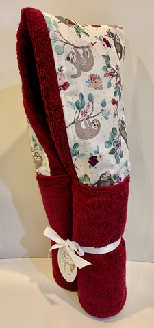 Pomegranate Sloths Hooded Towel