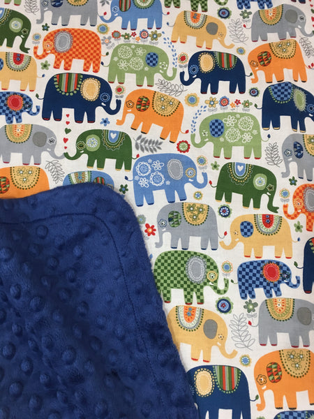 Happy Elephants Blue on Navy Minky Baby Blanket
