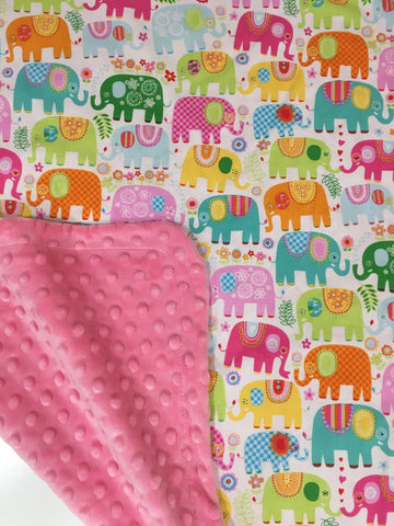 Happy Elephants Pink on Pink Minky Baby Blanket