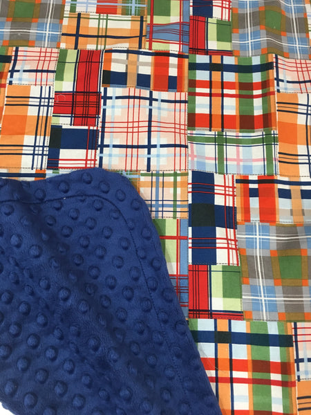 Patchwork Plaid on Navy Minky Baby Blanket