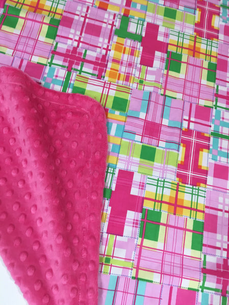 Pink Patchwork Plaid, Madras, on Fuchsia Minky Baby Blanket