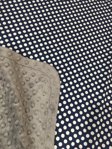 Navy Dot on Charcoal Minky Baby Blanket
