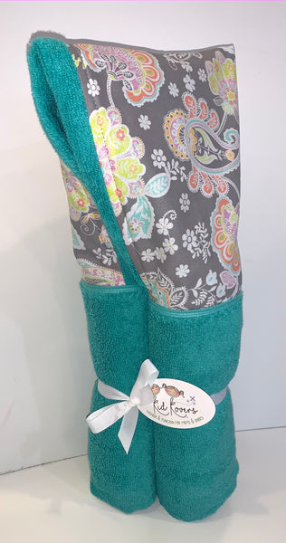 Jolie Pastel Floral Swirl Sea Green Hooded Towel
