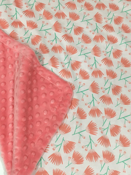 Tumbling Blooms Coral Minky Baby Blanket