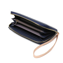 Load image into Gallery viewer, Navy Long Faux Leather Purse