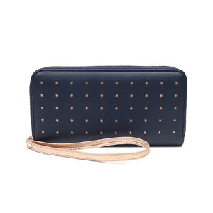 Navy Long Faux Leather Purse