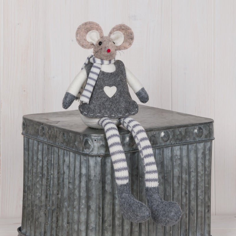 Grey Sitting Mouse Decoration