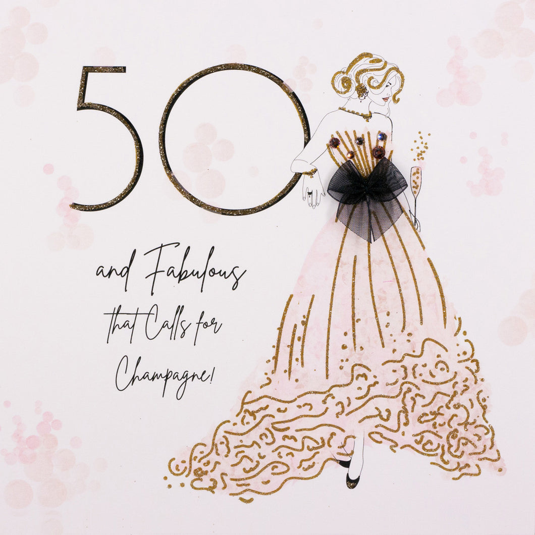 50 and Fabulous Birthday Card