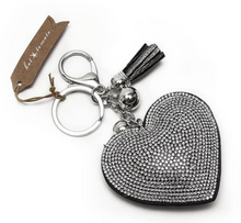 Load image into Gallery viewer, Sparkly Silver Heart Keyring