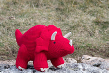 Load image into Gallery viewer, Knitted Red Triceratops