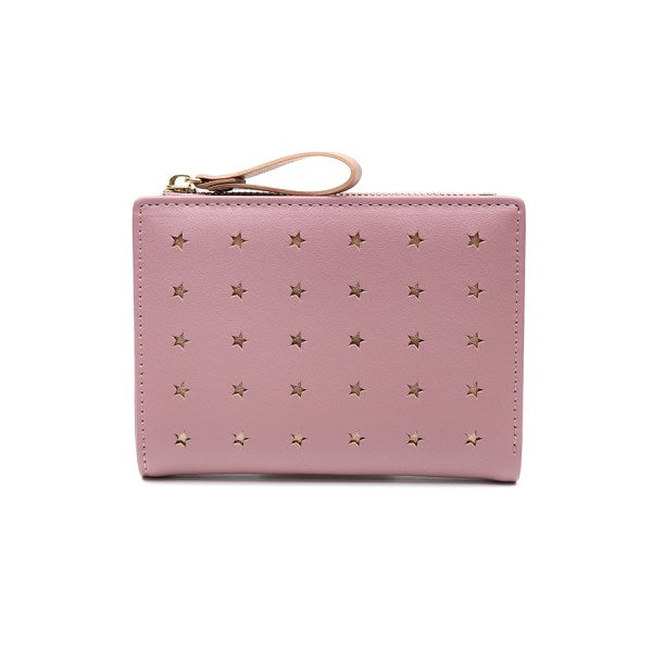 Pink Faux Leather Star Purse