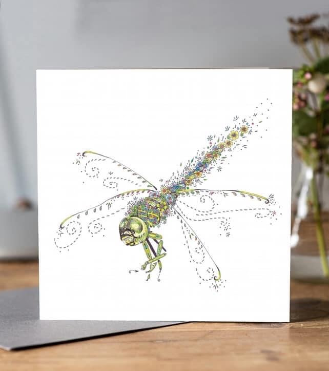Green Dragonfly Card