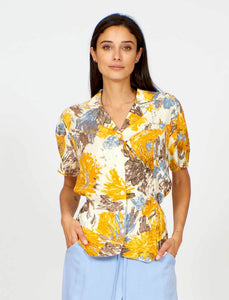Jean Blouse in Painted Yellow Flower Print
