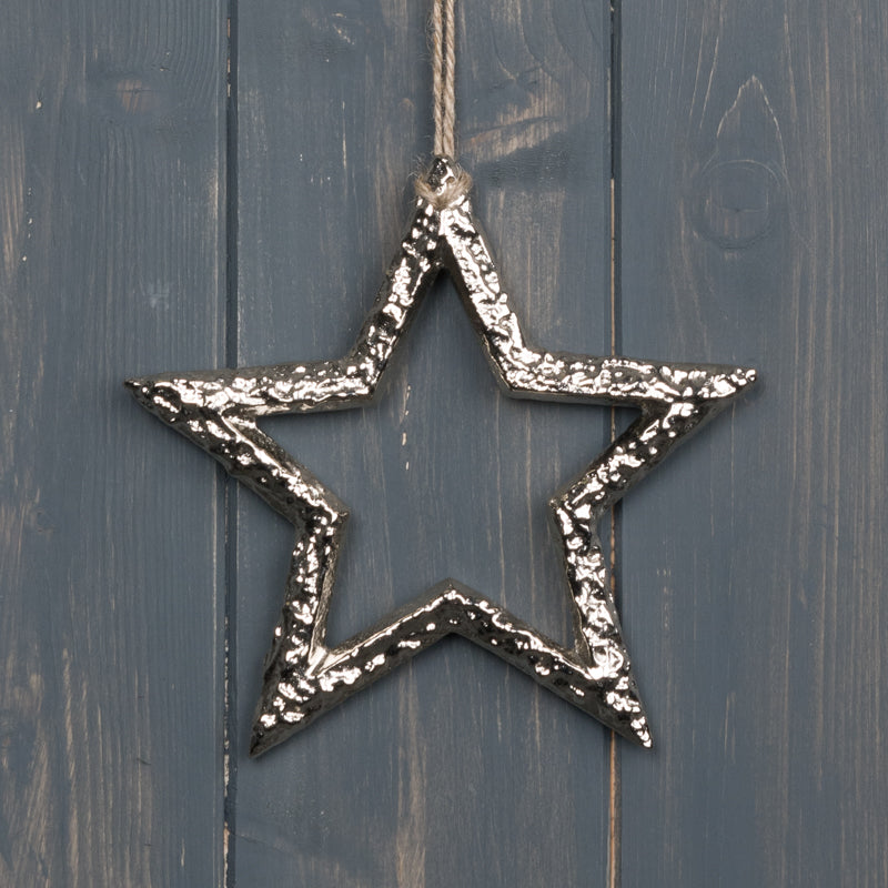 Silver Open Star Decoration