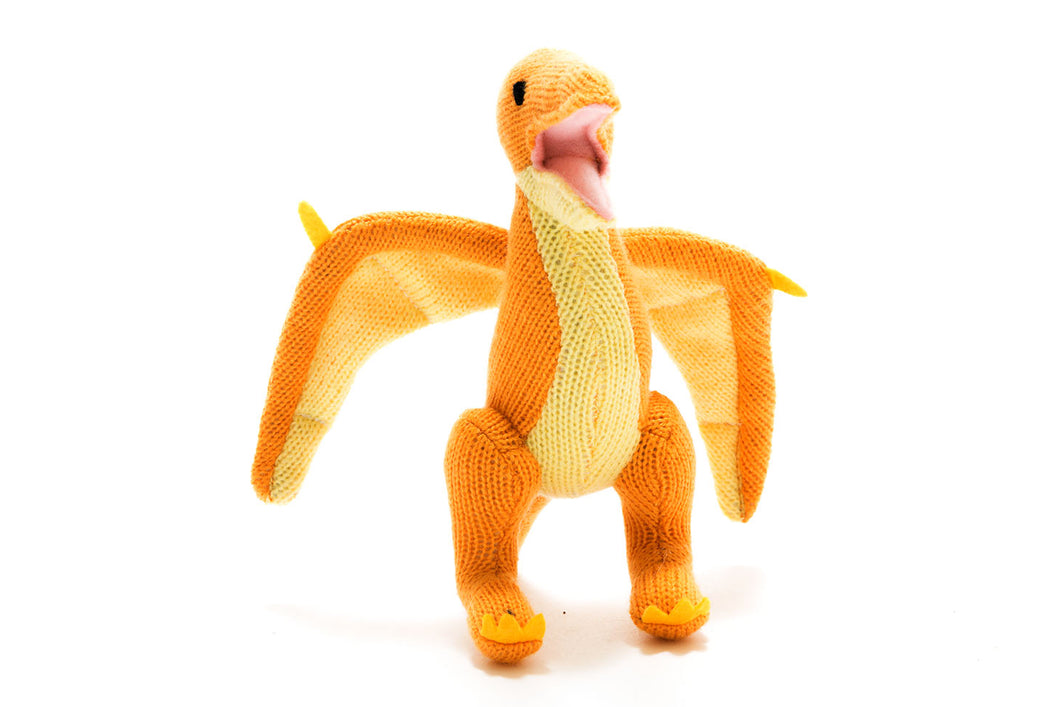 Knitted Yellow Pterodactyl Rattle