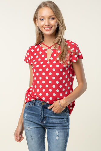 Red Polkadot Criss Cross Top