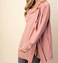 Draped Fleece Jacket with Button Closure