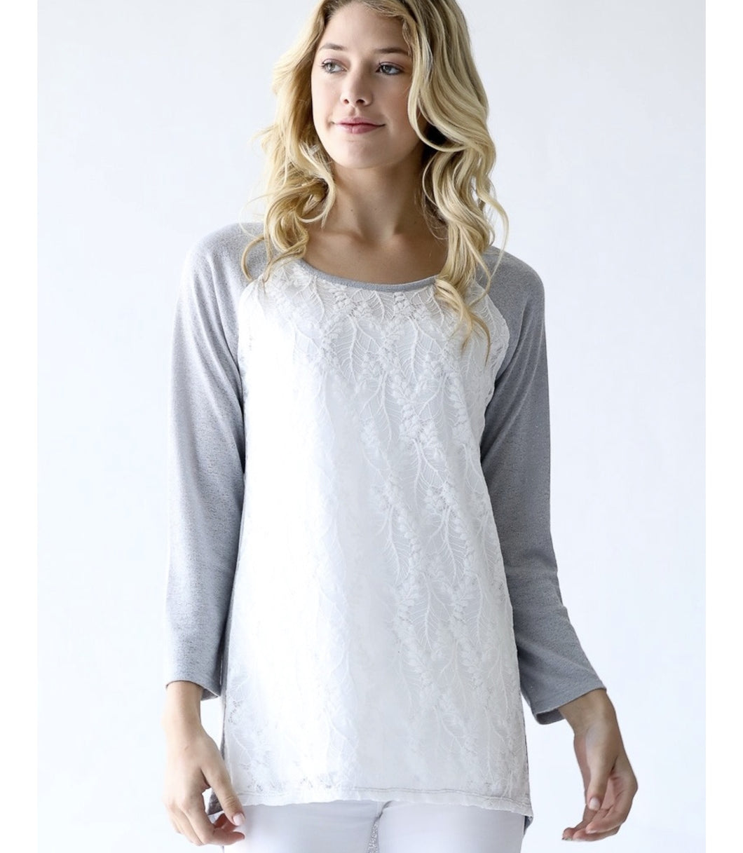 Grey Sweater with Lace Overlay