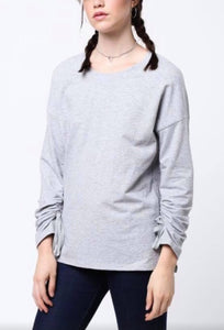 Grey Top with Rouched Sleeves