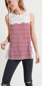 Red Striped Sleeveless Tank with Crochet Detail